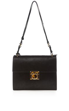 487dd87b1350 Shop Marisol Calf Hair Shoulder Bag by Salvatore Ferragamo - Moda Operandi  Black Handbags