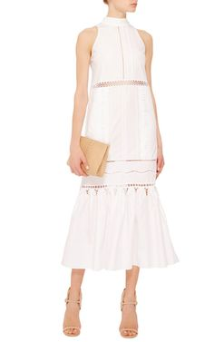 This sleeveless **Jonathan Simkhai** dress features a slight flare towards the hemline, a mock neckline, decorative trims throughout, and midi length hem.