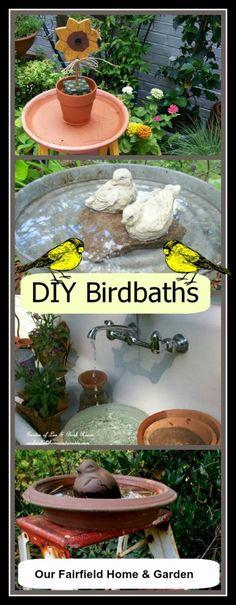 DIY Birdbaths http://ourfairfieldhomeandgarden.com/diy-bird-baths-bring-birds-to-your-garden/