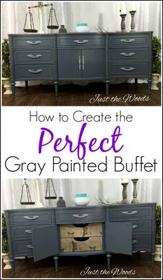 How to Create the Perfect Gray Painted Buffet with Tissue. Extra long Gray painted sideboard with surprise decoupage drawer fronts. Painted furniture. via @justthewoods