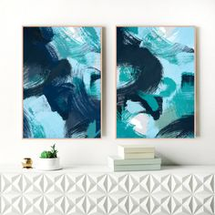 Blue Abstract Art, Set of Two Blue Art Prints, Indigo, Navy Art, 2 Large Blue Paintings, Printable Modern Art, Original Art, Extra Large Art by InspirationAbstracts on Etsy