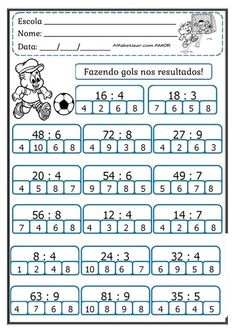 Dyslexia Activities, Math Quizzes, Kids Math Worksheets, Multiplication, Activities For 6 Year Olds, Math Sheets, Math Division, Maths Solutions, Montessori Math