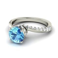 14K Gold  Spiral Band Blue Topaz Engagement Ring - Avis