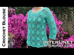 How to crochet a women's square motif lace blouse - YouTube