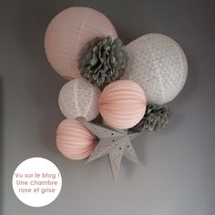 Gray and powder pink girl bedroom decor rnrnSource by Pink Bedroom For Girls, Little Girl Rooms, Closet Bedroom, Bedroom Decor, Bedroom Ideas, Small Chalkboard, Deco Rose, Gris Rose, Paper Fans