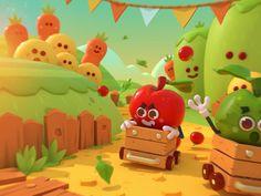 apple run! designed by Paul Lamy de La Chapelle . the global community for designers and creative professionals. Design 3d, Game Design, 3d Character, Character Design, Cute Games, Cg Art, Environment Concept Art, Designer Toys, Environmental Art