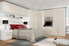 16 şub quarto modulado henn casal exclusive 03 11 portas e 7 gavetas Bedroom Built Ins, Master Bedroom Interior, Small Master Bedroom, Modern Bedroom Design, Home Bedroom, Bedroom Furniture, Home Furniture, Furniture Design, Bedroom Decor