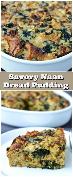 Savory Naan Bread Pudding with Spinach and Caramelized Onions featuring @stonefirenaan | The Foodie Physician #HelloNaan #Ad