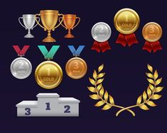 Buy Trophy Awards Gold Cup and Golden Laurel Wreath by MicrovOne on GraphicRiver. Trophy awards gold cup and golden laurel wreath, medals and sports podium. Sport trophy prize, illustration of medal . Free Game Assets, Sports Trophies, Gold 1, Wreath Drawing, Object Drawing, Game Background, Bronze, Event Flyer Templates, Laurel Wreath