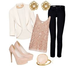 blush pink lace top, white blazer, black jeans, nude heels