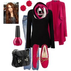 "I must have these pink uggs  Love the whole outfits  Comfy chic    ""Winter"" by honeybee20 on Polyvore"