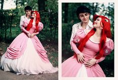 wonderful couple cosplay of Ariel in her infamous big poufy pink princess dress, and Prince Eric