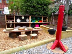 Spielplatz im Garten - Fotos und kreative Ideen You are in the right place about Outdoor play areas for babies Here we offer you the most beautiful Outdoor Learning Spaces, Kids Outdoor Play, Outdoor Play Areas, Backyard For Kids, Outdoor Fun, Backyard Ideas, Garden Kids, Family Garden, Outdoor Play Kitchen