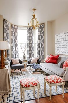 "Meredith Heron, of Meredith Heron Design: ""For this nine-foot wide living room located in a 160-year-old Victorian row house, we used pattern and…"