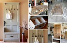 Mud room, coat hanger, diy, re purposed doors