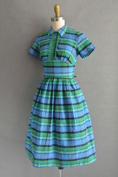 vintage 1950s dress / 50s cotton stripe full by simplicityisbliss
