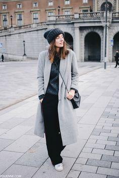 POLIENNE | wearing SAMSOE & SAMSOE coat, MANGO trackpants, ACNE STUDIOS knit, MONKI beanie, in Stockholm