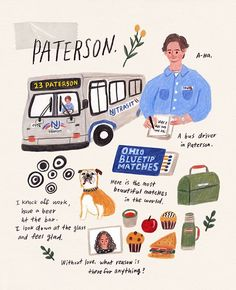 My movie journal page after watching Paterson, directed by Jim Jarmusch :) Did anyone watch this movie? I quite liked it! Paterson Movie, Movie Collage, Graphic Wallpaper, Simple Doodles, Visual Diary, Illustrations And Posters, Aesthetic Pictures, Cute Drawings, Art Inspo