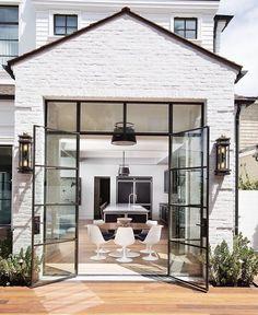 Painted brick and black window/door frame #modernmansionblack
