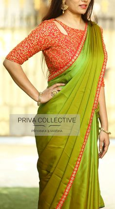 Mehendi Green designer georget saree with Red Designer Blouse - Sarees A Road MLA Colony Banjara Hills Hyderabad - Contact : 9160560480 toBuy Hug Collection of sarees Like Designer Saree,Wedding Sarees,Cotton Sarees,Party wear Saree and More For All Saree Blouse Neck Designs, Simple Blouse Designs, Stylish Blouse Design, Designer Blouse Patterns, Design Patterns, Design Ideas, Lehenga, Varanasi, Designer Sarees