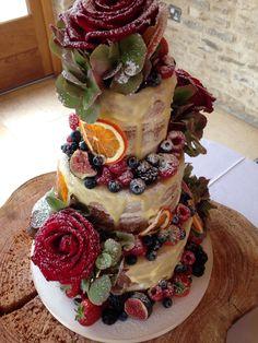 #nakedcake with drizzle of white chocolate #maryberrycake #vanillapodbakery at Kingscote Barn, Gloucestershire