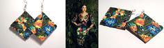 #earrings, #painted, Harper's Bazaar, Black Rose's Handmade Things, #jungle, #flowers