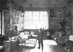 Monet in his salon atelier at Ginevrey, c. 1915.
