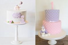 first birthday cakes for girls by Minnie's Sweet Creations left and All Things Sweet by Carissa right