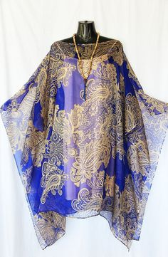 Indigo Blue and Gold Paisley 100% Silk Chiffon by LaMolliKaftans