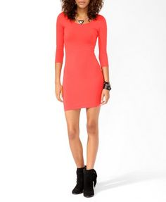 3/4 Sleeve Bodycon Dress | FOREVER 21 - 2021839930