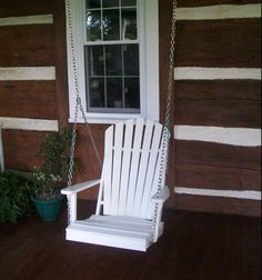 The A & L Furniture 2 ft. Adirondack Poly Recycled Plastic Swing Chair is the essence of country luxury. This deep, cozy rustic swing is sure to. Wooden Swing Chair, Wooden Swings, Wooden Pergola, Swinging Chair, Chair Swing, Masters Chair, Black Leather Chair, Vintage Porch, Black Dining Room Chairs