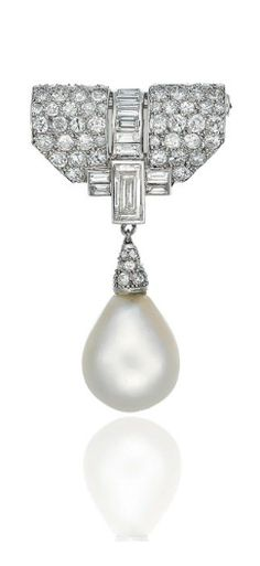 AN ART DECO NATURAL PEARL AND DIAMOND BROOCH Suspending a natural pearl drop, measuring approximately 16.9 x 13.5 x 10.3 mm, with a single-cut diamond cap, to the pavé-set and baguette-cut diamond shield-shaped panel, 1930s, 4.5 cm, with French assay marks for platinum and gold