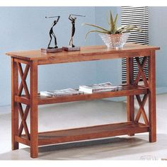 Briarcliff Brown Casual Sofa Table with Two Shelves @tasking