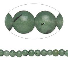 "Bead, Malaysia ""jade"" (dyed), multi-green, 4mm round, D grade, Mohs hardness 7. Sold per 15-inch strand."