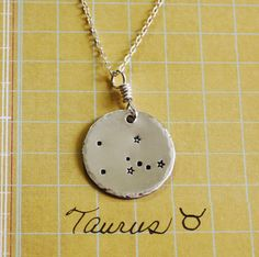 Taurus constellation necklace, sterling silver necklace, taurus necklace, taurus sign, stars, zodiac christmas gift necklace