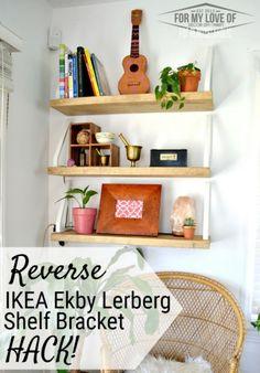 Best IKEA Hacks and DIY Hack Ideas for Furniture Projects and Home Decor from IKEA - Reverse Ekby Lerberg DIY Wall Shelf - Creative IKEA Hack Tutorials for DIY Platform Bed, Desk, Vanity, Dresser, Coffee Table, Storage and Kitchen, Bedroom and Bathroom Decor http://diyjoy.com/best-ikea-hacks
