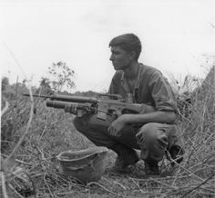 Soldier of the 173rd Airborne Brigade armed with an M16 with an attached grenade launcher, 1967.