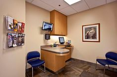 Veterinary hospital exam room;  wall color and cabinet finish.  Also -- the movable screen for X-ray viewing!