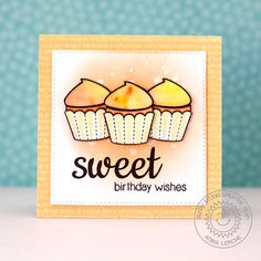 card cupcake cake muffin sweet greetings Sunny Studio Stamps: Sweet Shoppe Watercolored Cupcake Card by Anni Lerche. It's Your Birthday, Birthday Cards, Happy Birthday, Sunnies Studios, Cupcake Card, Studio Cards, Candy Cards, Sweet Words, Scrapbook Cards