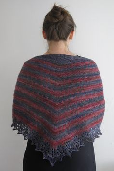 Thieves' Road Shawl knitting pattern by Littletheorem Knits on Craftsy. A shallow triangular shawl with zigzag stripes and a pretty lace edging. The yarn is Malabrigo Rastita in colourways No me Olvides and Jupiter.
