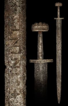 """Viking Style Iron Inlaid Type K Sword Overall length: 94 cm (37""""); Blade length: 78 cm (30.7""""); Weight: 980 g"""