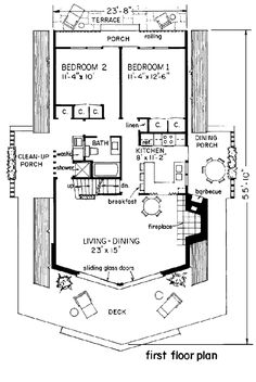 A-Frame Cabin Contemporary House Plan 43048 Level One