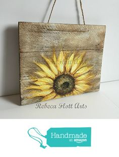 SUNFLOWER on rustic wood , original hand painted by Rebeca Flott from RebecaFlottArts http://www.amazon.com/dp/B01DPUQP9G/ref=hnd_sw_r_pi_dp_ef-.wb1C0R1F1 #handmadeatamazon