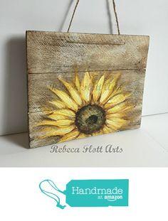 SUNFLOWER on rustic wood , original hand painted by Rebeca Flott from RebecaFlottArts http://www.amazon.com/dp/B01DPUQP9G/ref=hnd_sw_r_pi_dp_ef-.wb1C0R1F1 #handmadeatamazon