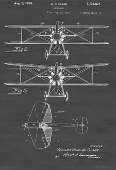 Biplane Patent Print - Vintage Airplane Airplane Blueprint Airplane Art Pilot Gift  Aircraft Decor Airplane Poster Biplane Patent by PatentsAsPrints