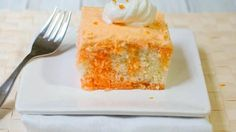 Inspired by orangesicles, our orange cream poke cake will melt in your mouth, not down your shirt.