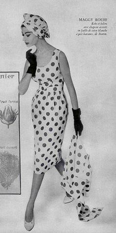 1957 Maggy Rouff Fashion Images, 50 Fashion, Fashion History, Fifties Fashion, Retro Fashion, Fashion Vintage, Vintage Dresses, Vintage Outfits, 50s Vintage