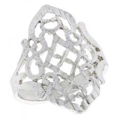 Sterling Silver Diamond-shaped Filigree Ring, 3/4 inch.