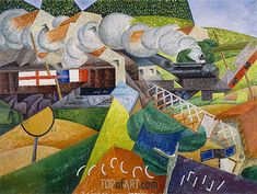 Gemälde Titel: Rotes Kreuz Zug Passiert ein Dorf, 1915   Künstler: Gino Severini (inspired by) (1883-1966)   Kunstgemälde Reproduktion von TOPofART.com