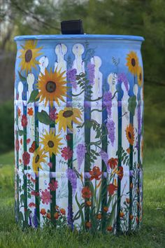"""Roni Gilpin painted """"The Garden  Of Earthly Delights"""" for Bluegrass PRIDE's Roll out the Rain Barrel campaign."""